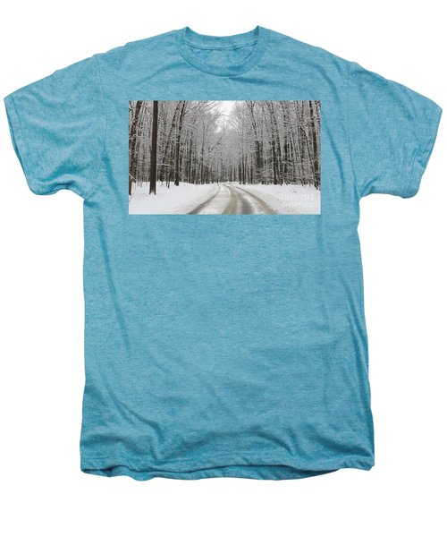 Snowy Road In Oak Openings 7058 Men's Premium T-Shirt by Jack Schultz