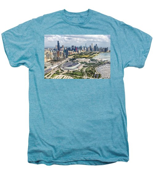 Soldier Field And Chicago Skyline Men's Premium T-Shirt by Adam Romanowicz