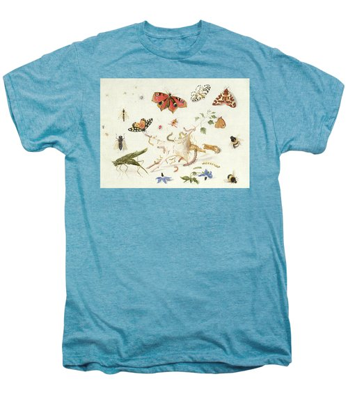 Study Of Insects And Flowers Men's Premium T-Shirt by Ferdinand van Kessel