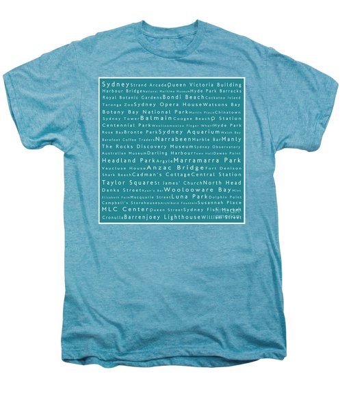 Sydney In Words Teal Men's Premium T-Shirt by Sabine Jacobs