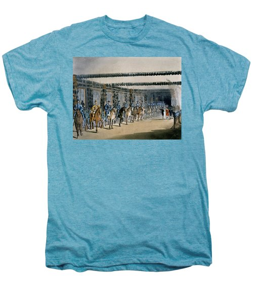 The Horse Armour Tower, Print Made Men's Premium T-Shirt by T. & Pugin, A.C. Rowlandson