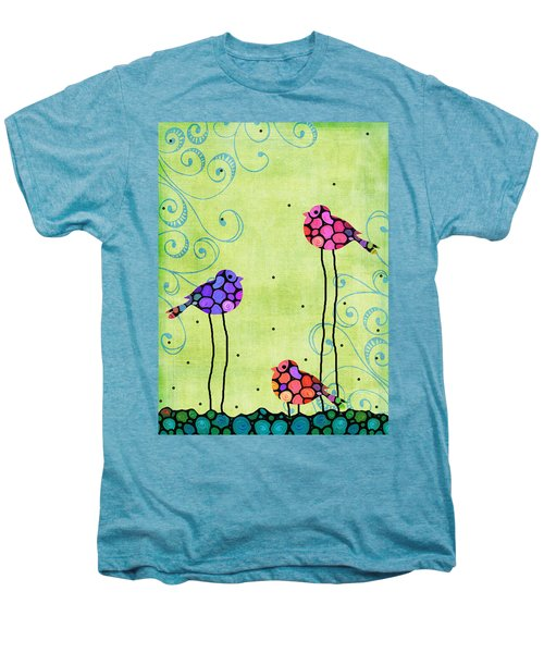 Three Birds - Spring Art By Sharon Cummings Men's Premium T-Shirt by Sharon Cummings