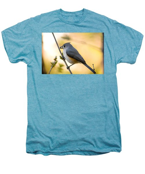 Titmouse In Gold Men's Premium T-Shirt by Shane Holsclaw