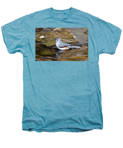 Tufted Titmouse In Pond II Men's Premium T-Shirt by Sandy Keeton