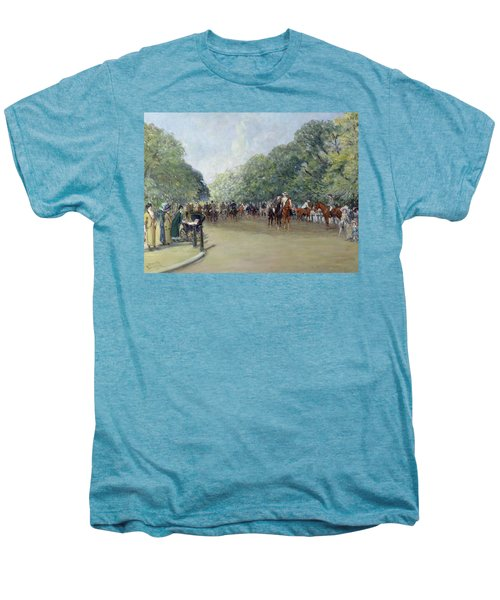 View Of Hyde Park With Figures On Rotten Row  Men's Premium T-Shirt by Albert Jnr Ludovici
