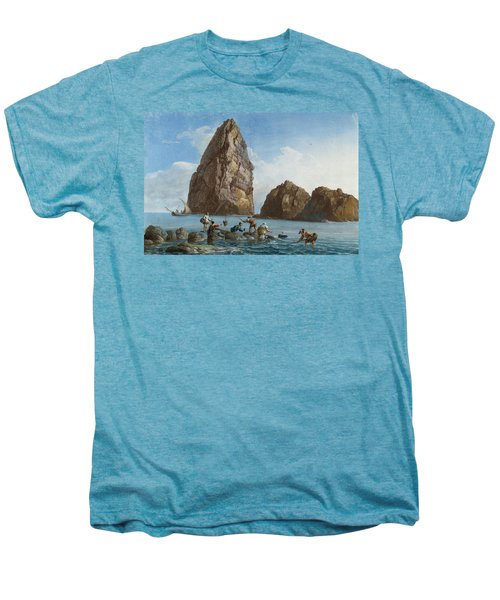 View Of The Rocks On The Third Island Of Cyclops Men's Premium T-Shirt by Jean-Pierre-Louis-Laurent Houel