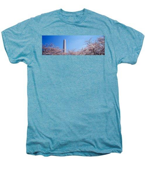 Washington Monument Behind Cherry Men's Premium T-Shirt by Panoramic Images