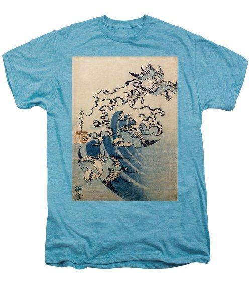Waves And Birds Men's Premium T-Shirt by Katsushika Hokusai