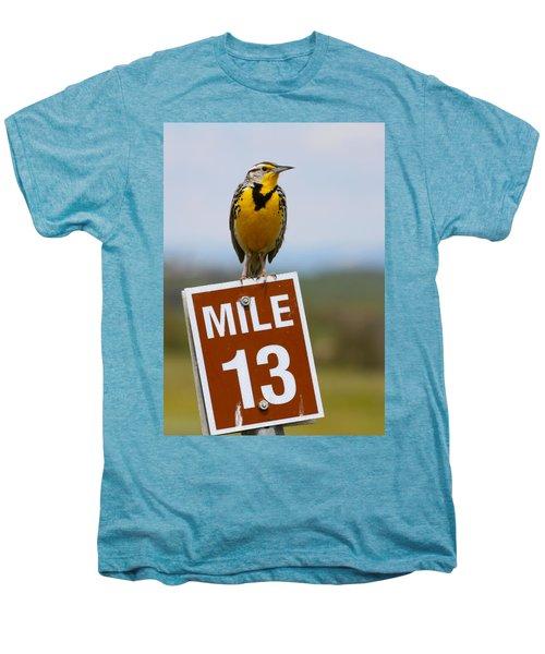 Western Meadowlark On The Mile 13 Sign Men's Premium T-Shirt by Karon Melillo DeVega