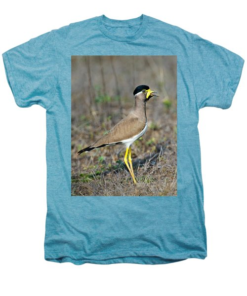 Yellow-wattled Lapwing Vanellus Men's Premium T-Shirt by Panoramic Images