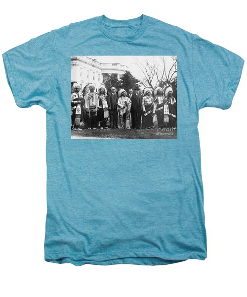 Coolidge With Native Americans Men's Premium T-Shirt by Photo Researchers