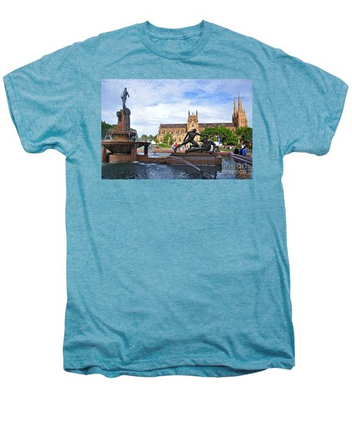 Hyde Park Fountain And St. Mary's Cathedral Men's Premium T-Shirt by Kaye Menner