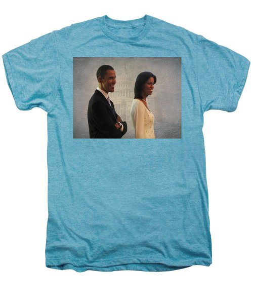 President Obama And First Lady Men's Premium T-Shirt by David Dehner