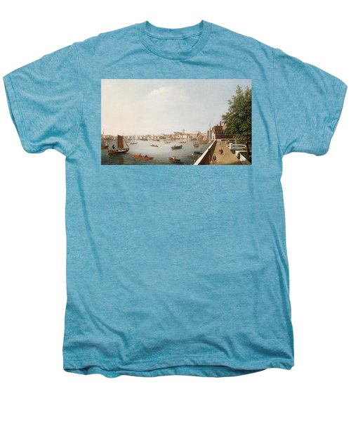 View Of The River Thames From The Adelphi Terrace  Men's Premium T-Shirt by William James