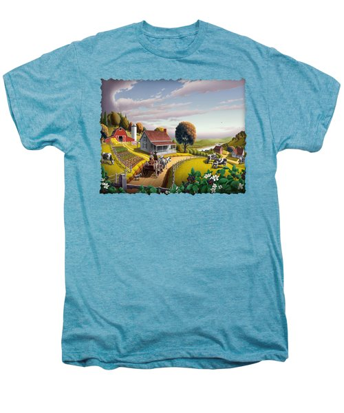 Appalachian Blackberry Patch Rustic Country Farm Folk Art Landscape - Rural Americana - Peaceful Men's Premium T-Shirt by Walt Curlee