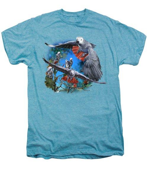 African Grey Parrots Men's Premium T-Shirt by Owen Bell