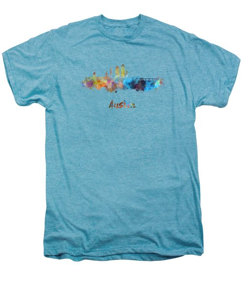 Austin Skyline In Watercolor Men's Premium T-Shirt by Pablo Romero
