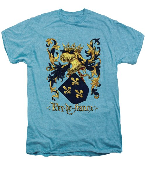 King Of France Coat Of Arms - Livro Do Armeiro-mor  Men's Premium T-Shirt by Serge Averbukh