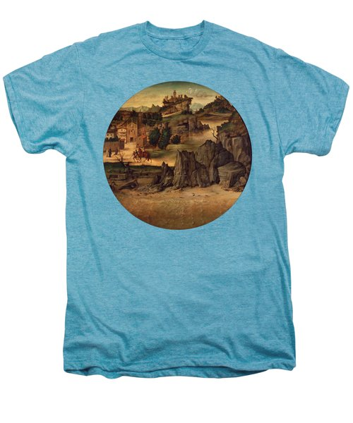 Landscape With Castles Men's Premium T-Shirt by Bartolomeo Montagna