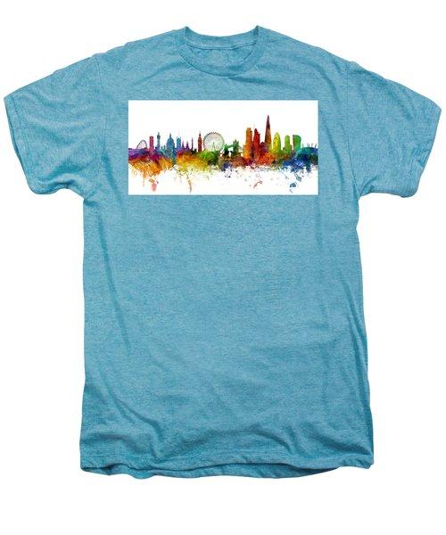 London England Skyline Panoramic Men's Premium T-Shirt by Michael Tompsett