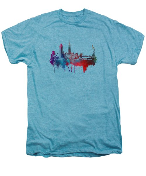 New York City Skyline Blue Men's Premium T-Shirt by Justyna JBJart