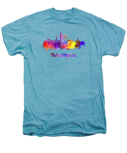 Philadelphia Skyline In Watercolor Men's Premium T-Shirt by Pablo Romero