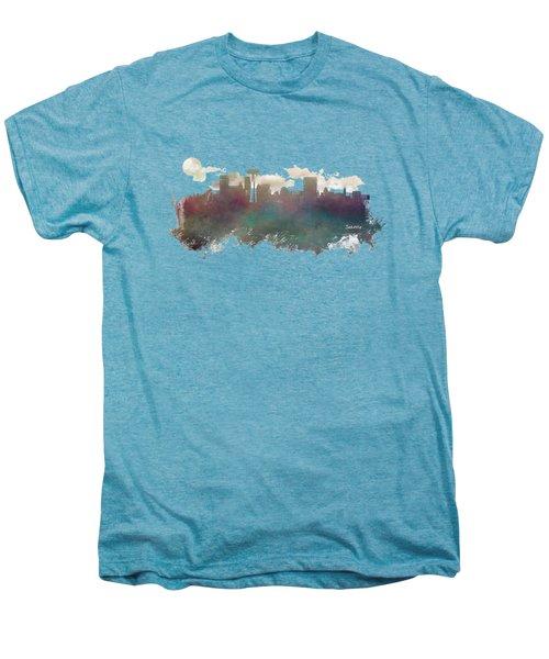 Seattle Washington Skyline Men's Premium T-Shirt by Justyna JBJart