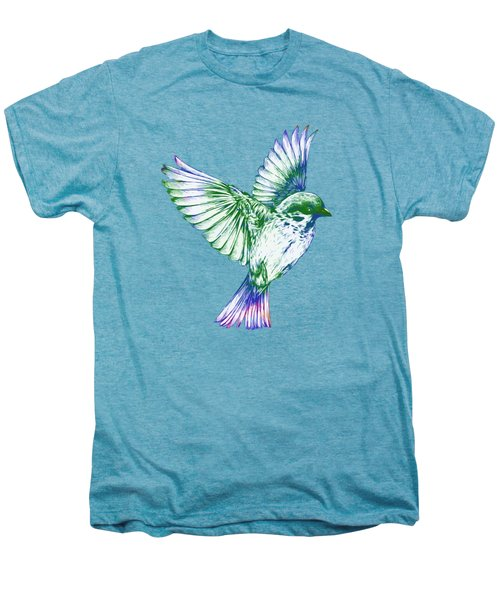 Textured Bird With Changeable Background Color Men's Premium T-Shirt by Sebastien Coell