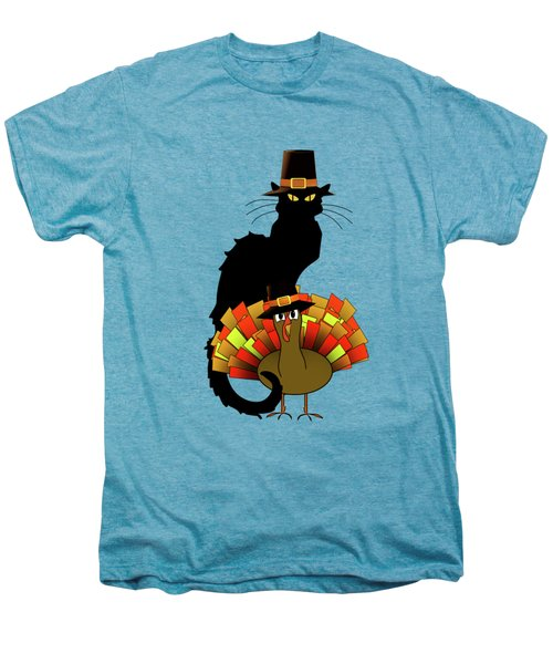 Thanksgiving Le Chat Noir With Turkey Pilgrim Men's Premium T-Shirt by Gravityx9   Designs