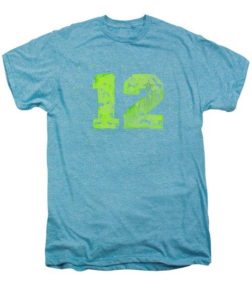 12th Man Seahawks Art Go Hawks Men's Premium T-Shirt by Olga Shvartsur