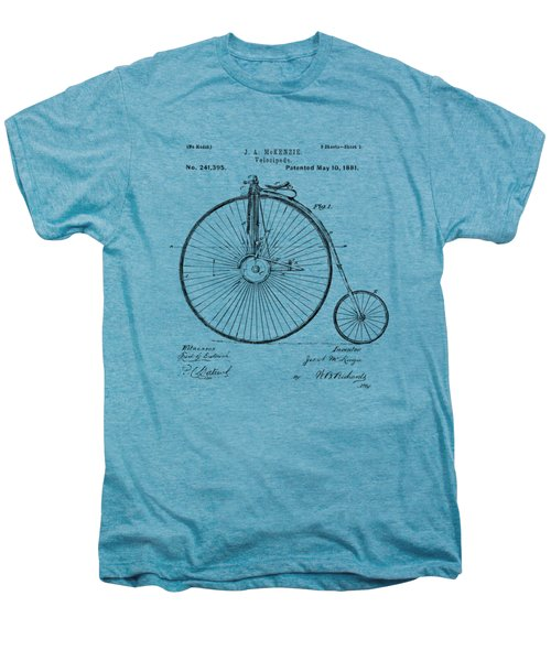 1881 Velocipede Bicycle Patent Artwork - Vintage Men's Premium T-Shirt by Nikki Marie Smith
