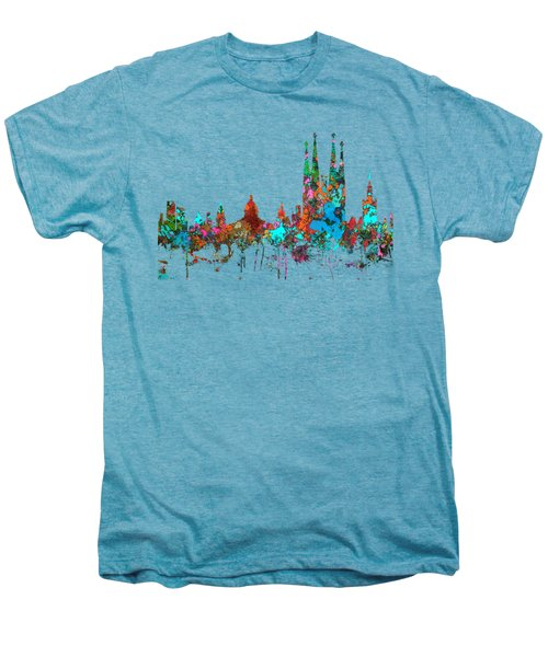 Barcelona Spain Skyline Men's Premium T-Shirt by Marlene Watson