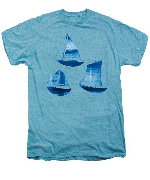 3 Little Blue Sailing Boats Men's Premium T-Shirt by Frank Tschakert