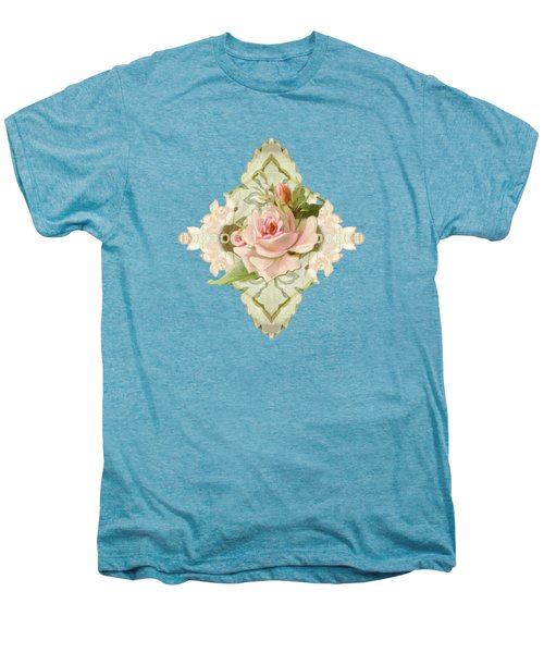 Summer At The Cottage - Vintage Style Damask Roses Men's Premium T-Shirt by Audrey Jeanne Roberts