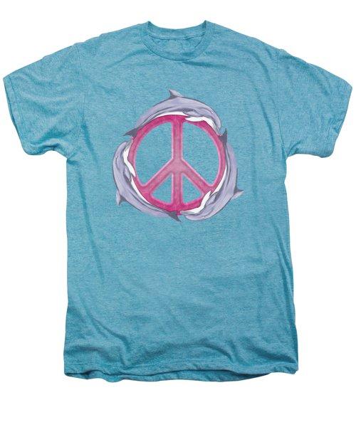 Dolphin Peace Pink Men's Premium T-Shirt by Chris MacDonald