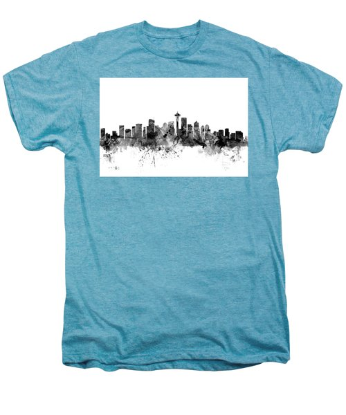 Seattle Washington Skyline Men's Premium T-Shirt by Michael Tompsett