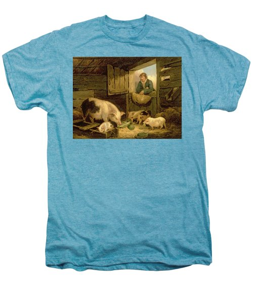A Boy Looking Into A Pig Sty Men's Premium T-Shirt by George Morland