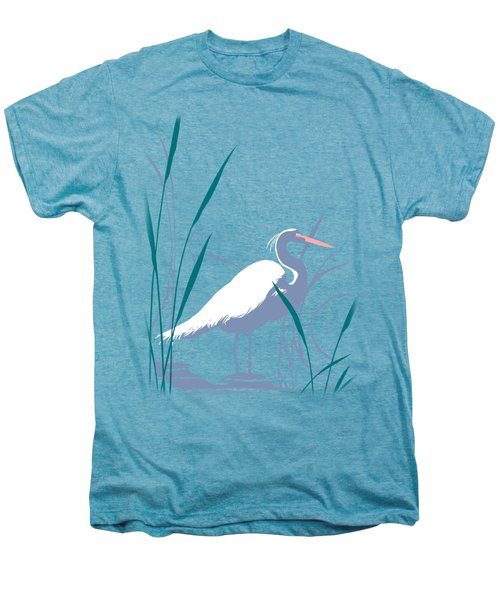 abstract Egret graphic pop art nouveau 1980s stylized retro tropical florida bird print blue gray  Men's Premium T-Shirt by Walt Curlee