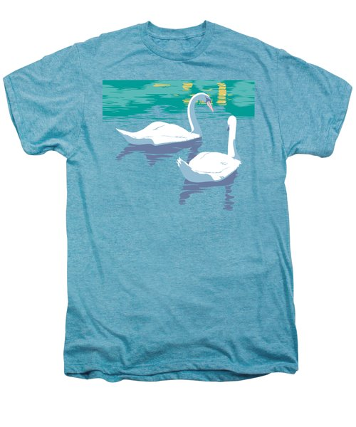 Abstract Swans Bird Lake Pop Art Nouveau Retro 80s 1980s Landscape Stylized Large Painting  Men's Premium T-Shirt by Walt Curlee