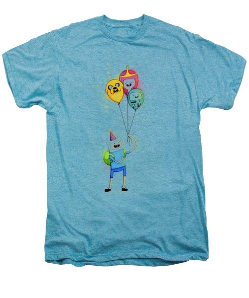 Adventure Time Finn With Birthday Balloons Jake Princess Bubblegum Bmo Men's Premium T-Shirt by Olga Shvartsur