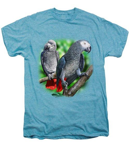 African Grey Parrots A Men's Premium T-Shirt by Owen Bell