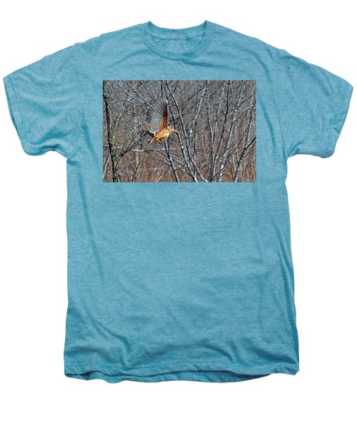 American Woodcock In Takeoff Flight Men's Premium T-Shirt by Asbed Iskedjian