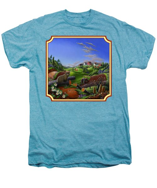 Americana Decor - Springtime On The Farm Country Life Landscape - Square Format Men's Premium T-Shirt by Walt Curlee