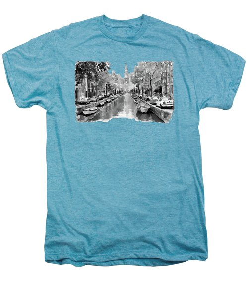 Amsterdam Canal 2 Black And White Men's Premium T-Shirt by Marian Voicu