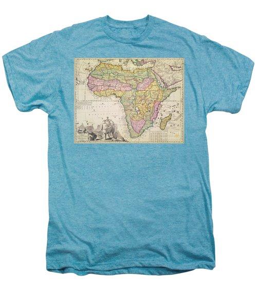 Antique Map Of Africa Men's Premium T-Shirt by Pieter Schenk