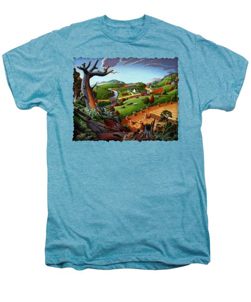 Appalachian Fall Thanksgiving Wheat Field Harvest Farm Landscape Painting - Rural Americana - Autumn Men's Premium T-Shirt by Walt Curlee