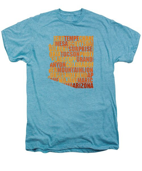 Arizona State Outline Word Map Men's Premium T-Shirt by Design Turnpike