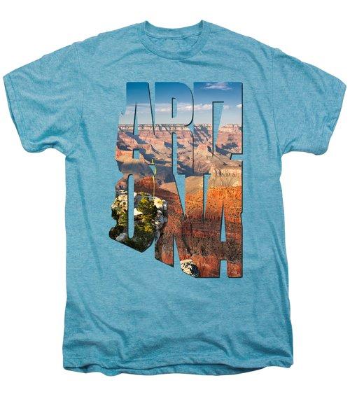 Arizona Typography - Grand Canyon At Sunset Men's Premium T-Shirt by Gregory Ballos
