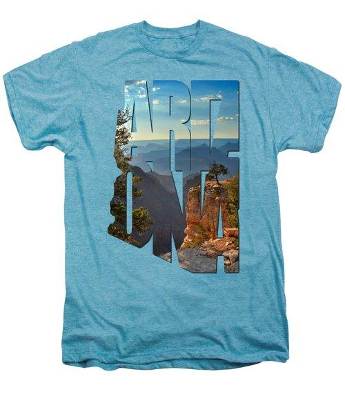 Arizona Typography - Sun Setting On Grand Canyon Men's Premium T-Shirt by Gregory Ballos