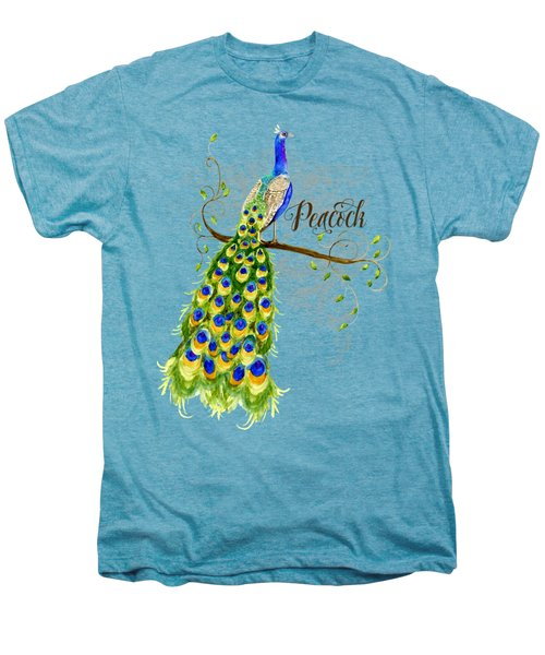 Art Nouveau Peacock W Swirl Tree Branch And Scrolls Men's Premium T-Shirt by Audrey Jeanne Roberts